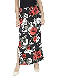 FRANCLO Women's Floral Print Skirt (Black, 30)