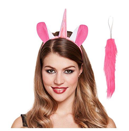 (Lizzy® Deluxe Pink Einhorn Ohren & Schwanz Set–SOFORT Fancy Kleid Kostüm Stirnband Zubehör)