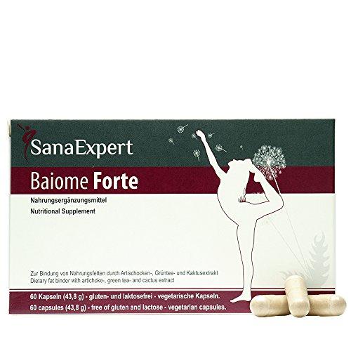 SanaExpert Baiome Forte, Pflanzlicher Fettbinder mit Artischocken-, Kaktus-, Grüntee- und Grüner Kaffee Extrakt, 60 Kapseln