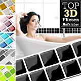 7 Stück 25,3 x 3,7 cm schwarz Fliesenaufkleber Design 18 I 3D Mosaik Fliesenfolie Küche Bad Aufkleber Grandora W5423