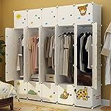 Koossy Erweiterbares Kinderregal Kinder Kleiderschrank mit Giraffe Aufkleber für Kinderzimmer (25Türen)
