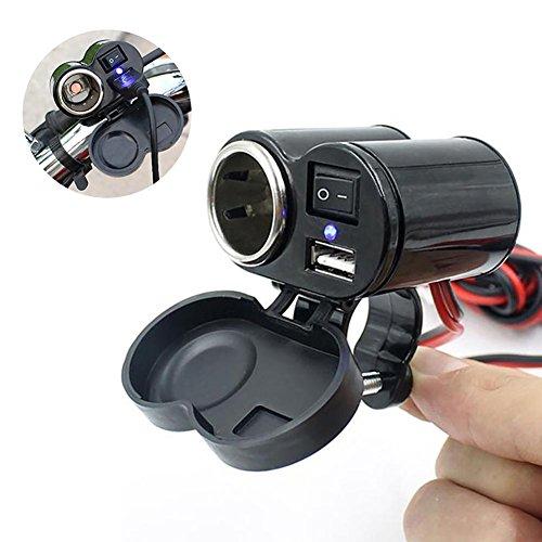 Umiwe Motorradzigarettenanzünderbuchse, Wasserdichte 5v/1.5a USB-Ladebuchse mit Schaltersteuergriffbarklemmklammer