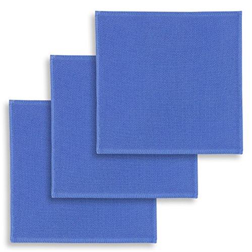 ziczac-affaires KRACHT, Spültuch, Poliertuch, Putztuch, 100% Baumwolle, 6 Farben, 4 Setvarianten, Edition, Format 30x30 cm (3er Set, blau)