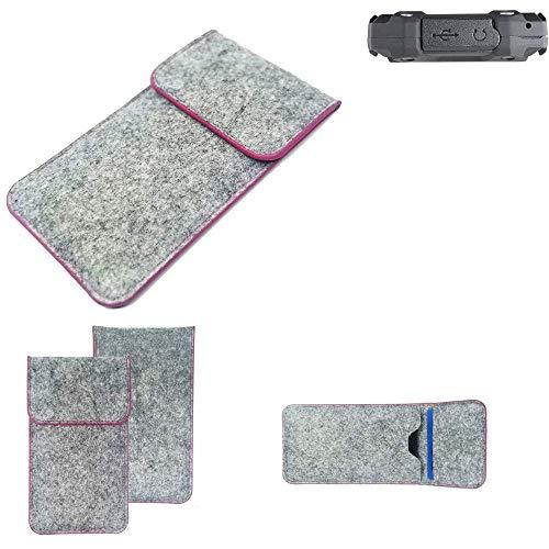 K-S-Trade® Filz Schutz Hülle Für Simvalley Mobile SPT-210 Schutzhülle Filztasche Pouch Tasche Case Sleeve Handyhülle Filzhülle Hellgrau Pinker Rand