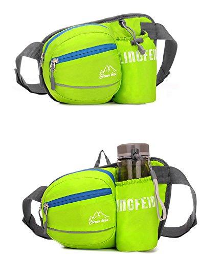 Alpinismo Waist Pack con borsa Portaborraccia attesa sacchetto Pack Fanny Bag Bumbag hip cintura marsupio per esterni running campeggio trekking escursioni 4 colori H22 x W12 x T14 cm , green Green