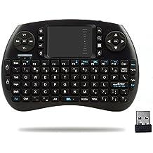 HORIZONTAL Mini 2.4Ghz Touchpad teclado inalámbrico con ratón para Google Android Tv Box, Pc, Pad, Xbox 360, PS3, Htpc, Iptv (Negro)