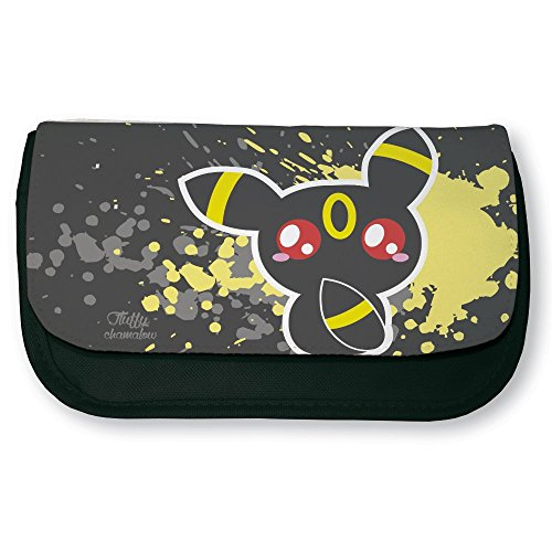 Trousse noire de maquillage ou d'école Pokemon Noctali / Umbreon Chibi et Kawaii by Fluffy chamalow - Fabriqué en France - Chamalow shop