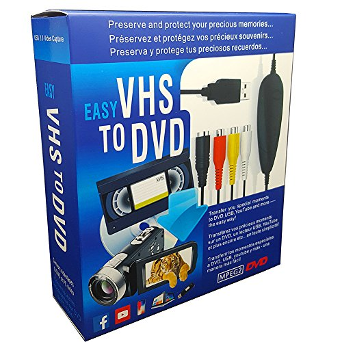 FONCBIEN Convertitore VHS Dvd USB 2.0 Audio Video Grabber ConvertitoreVideoregistratore VHS/Capture Grabber Video USB per Windows 10/8/7