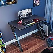 مكتب اللعب يوريكا ذو التصميم المريح هندسيا بحجم 43 انش للكمبيوتر المكتبي، اسود