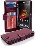 Cadorabo Hülle für Sony Xperia Z - Hülle in Bordeaux LILA – Handyhülle mit 3 Kartenfächern - Case Cover Schutzhülle Etui…