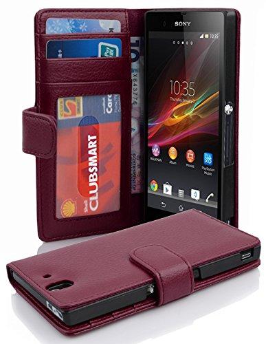 Preisvergleich Produktbild Cadorabo Hülle für Sony Xperia Z - Hülle in BORDEAUX LILA – Handyhülle mit 3 Kartenfächern - Case Cover Schutzhülle Etui Tasche Book Klapp Style