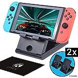 CamKix Ensemble de 2 playstands Compatible avec Nintendo Switch - Support de Bureau - Tient Votre Nintendo Switch en Position Verticale - Multi Angle - Idéal pour Les Jeux multijoueurs Mains Libres