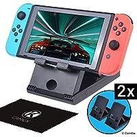 Juegos de 2 Soportes para Nintendo Switch – Soporte de escritorio – Sostiene su Nintendo Switch vertical – Ángulo Múltiple – Ideal para juegos multijugador sin manos – Conecta un cargador o teclado.