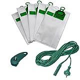 6 Microvliesbeutel + 10 Meter Stromkabel + 1 Kabelhalter geeignet für Ihren Vorwerk Kobold VK 140