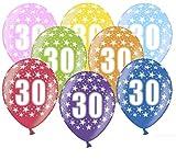 Libetui 10 kunterbunte Luftballons Metallic 30cm Deko zum 30. Geburtstag Geburtstagsparty Happy Birthday Dekoration (Zahl 30)