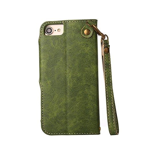 Rose Blume geprägt Flip Stand Case Retro PU-Leder Magnetverschluss Geldbörse Tasche mit Lanyard für iPhone 7/8 ( Color : Pink ) Green