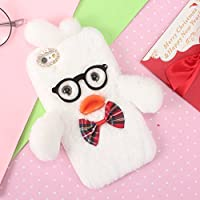 "iPhone 6S Plus Funda, iPhone 6 Plus 5.5"" Funda, SevenPanda Funda iPhone 6 Plus Duck Funda protectora Furry Luxury Girl Girly Cute Bling Diamonds Diseño Bowknot Fluffy Soft Warm Funda protectora trasera TPU Silicona 3D Gafas 3D Silicona Boca Soft Plush Wool Fluffy Rabbit Rabbit Fur Hair Teléfono móvil Anti-rasguño Shell Bag Furry Rabbit Funda protectora Thin Shell para iPhone 6 Plus / 6S Plus - Blanco"