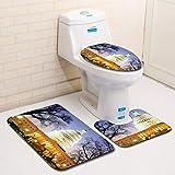 CHLCH Badteppich-Set 3-teilig mit Fußmatte und Toilettenbezug aus weichem FlanelBuilding 3D 038, 45 * 75 cm + 35 * 45 cm + 45 * 37,5 cm