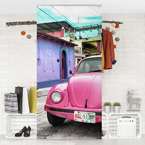 Bilderwelten Raumteiler - Pink VW Beetle 250x120cm Schiebegardine Schiebevorhang Raumtrenner Vorhang Raumteiler Gardine Paravent Wandbild...