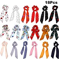 Hair Scrunchies Bowknot Hair Bands Elastic Hair Scarves Ponytail Hair Scrunchies for Female Hair Decorations (18 Pieces, Style Set 1)