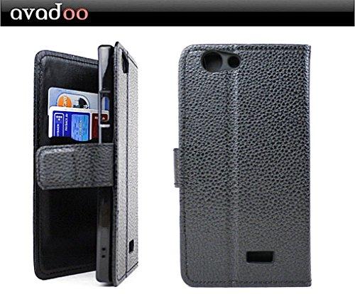 avadoo® Medion Life E5005 Flip Case Cover Tasche Schwarz mit Magnetverschluss und Dualnaht als Cover Tasche Hülle