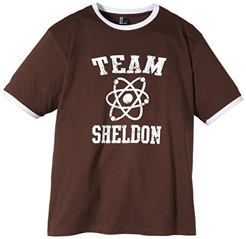 Coole-Fun-T-Shirts T-Shirt Team Sheldon - Big Bang Theory ! Vintage Ringer, braun, M, 10746_braun_RINGER_GR.M -