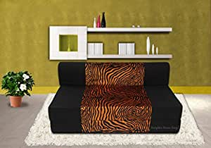 Dolphin Zeal Two Seater Sofa Cum Bed  (Black and Golden Zebra)