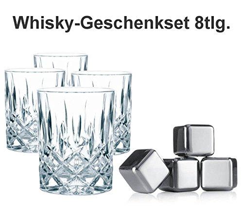 Sterngraf Whisky-Set Noblesse 8tlg. ** 4 Whiskygläser (Nachtmann Noblesse) + 4 Whiskysteine (vacu vin) ** Keine Verwässerung mehr für puren Trinkgenuss ** Geschenke Geschenkset für Whiskey-Liebhaber