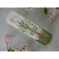 Taufkerze Baum des Lebens grün gold Alpha und Omega Taufkerzen Junge Mädchen 250/70 mm mit Name und Datum