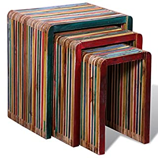 Anself Wood Nesting Tables Colourful Reclaimed Teak Set of 3