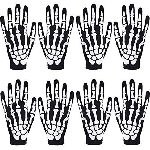 SATINIOR 4 Paar Halloween Skeleton Handschuhe Unisex Skull Bone Handschuhe Vollfinger Skeleton Handschuhe für Halloween Cosplay Zubehör