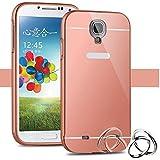 Funda Espejo Aluminio Metal Carcasa para Samsung Galaxy S4 Mini Color Rosado
