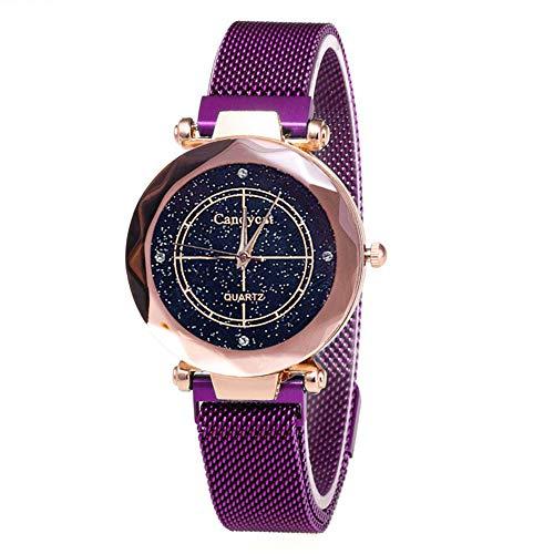 VIMOER Armbanduhr mit simulierten Diamanten von Starry Sky, analoge Quarzuhr, magnetische Mesh-Armbänder, Armbanduhr für Mädchen/Damen 33mm Violett