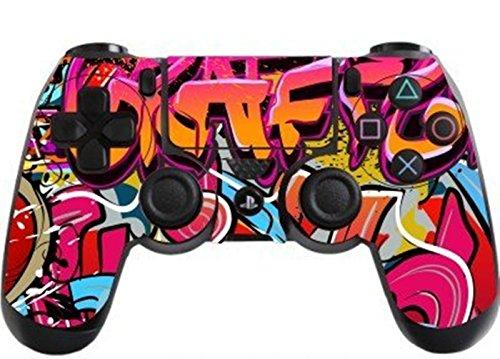 dotbuy PS4Vinyl Aufkleber Decal Skin Sticker von Schutz für Sony Playstation 4Controller x 1 rosa Graffiti Hip Hop