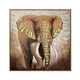 YUEFHAN Art Ölgemälde Auf Leinwand Handgemalt,Großformatiges handgemaltes Ölgemälde Elefant-Stil Veranda Wohnzimmer Dekoratives Gemälde Gang Hotel Sofa Hintergrund Wandgemälde,60 × 60 cm