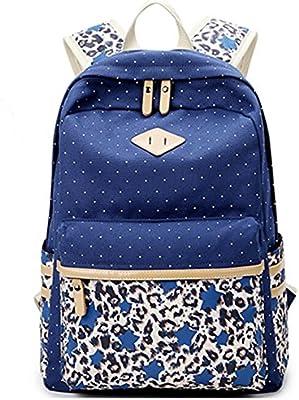 DATO Bolso Mochilas Escolares Estrellas y Leopardo Mochila de Lona para Mujer Moda Juvenil Grand Capacidad Viaje Mochilas Tipo Casual Backpacks