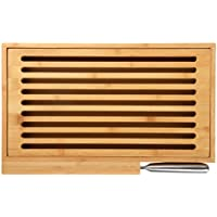 Hillfield® planche à découper avec grille ramasse-miettes en bambou, avec couteau à pain en acier inoxydable et support pour la planche, grande surface de coupe de 39,5 x 24 cm, grille amovible pour un nettoyage facile, Bambou, 1