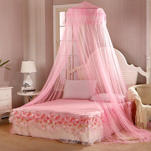 yibenwanligod Bedding Decor Sommer Flying Bug Sweet Style Runde Betthimmel Dome Moskitonetz Rosa