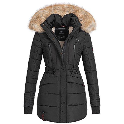 Marikoo NOVA Damen Mantel Wintermantel Steppjacke Winter Jacke lang XS-XXL 6Farben, Größe:S / 36;Farbe:Schwarz