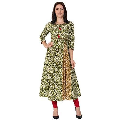 Gulmohar Jaipur Green Color Cotton Round Neck A-line Women's Kurti