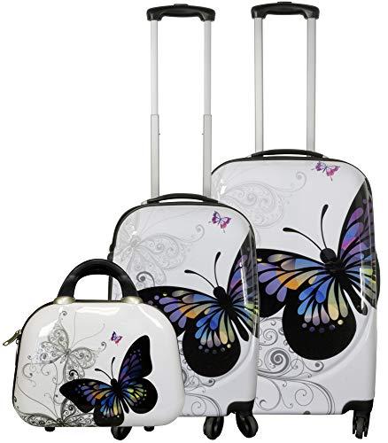 Hartschalenkoffer Kofferset Reisekofferset Butterfly Schmetterling 2 TLG Robust und Beautycase