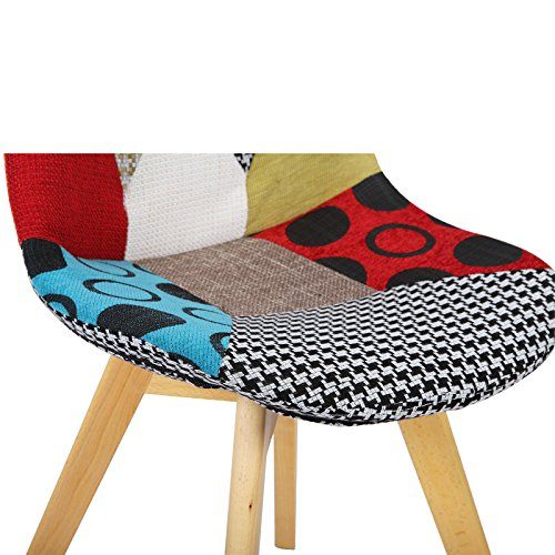 51G6aGORBHL. SS500  - WOLTU® BH29mf-1 1 x Dining Chair Retro Kitchen Chair Patchwork Linen Dining Chair, Multicolored