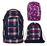 satch pack by ergobag 3er Set Schulrucksack + Sportbeutel Berry Carry & Regencape Purple