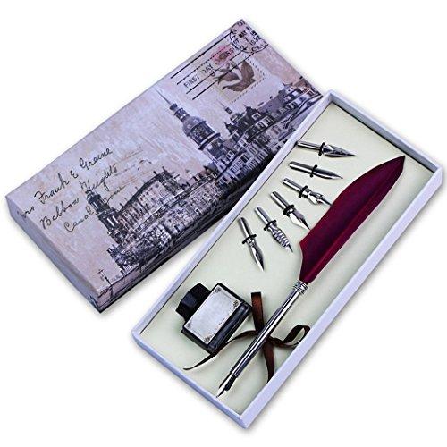 Soriace®Retro Gans Federkiel, Kalligraphie Feder Pen Geschenkset mit Feder Quill / Tinte Flasche /...