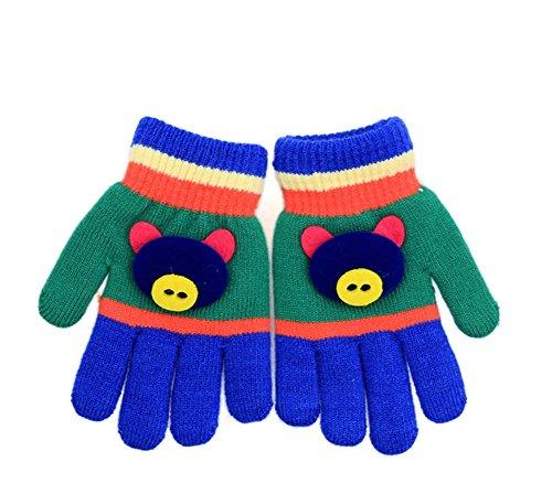 wein Herbst und Winter Baby Warme Handschuhe Kind Gestrickte Fäustlinge (2-3 Jahre alt) (Dunkelblau) (Schwein 2)