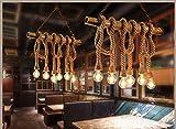 REAYOU Retro DIY Hängeleuchte Industrielle Pendelleuchten Vintage Deckenleuchte Kronleuchter Eisen Hanfseile Hängelampen Edison Light Hanfseil und Bamboo Pendelleuchten Küchenleuchte Esstisch fur Wohnzimmer Esszimmer bar (Leuchtmittel nicht enthalten)6 lamp-A
