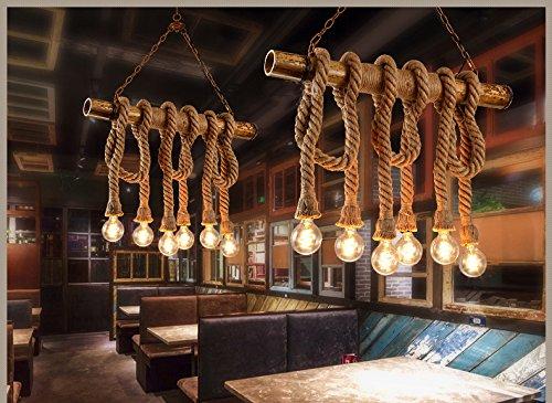 Seil-anhänger-beleuchtung (REAYOU Retro DIY Hängeleuchte Industrielle Pendelleuchten Vintage Deckenleuchte Kronleuchter Eisen Hanfseile Hängelampen Edison Light Hanfseil und Bamboo Pendelleuchten Küchenleuchte Esstisch fur Wohnzimmer Esszimmer bar (Leuchtmittel nicht enthalten)6 lamp-A)