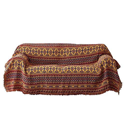 Encounter G 130'' X 90'' Baumwolle Gewebte Wolldecke Werfen Kaffee Stuhl Wohnzimmer Dekoration BöHmischen Quaste Tischdecke - Bunte Tribal Style Teppich,Red&Yellow,130X180CM (Baumwolle Gewebte Tischdecke)