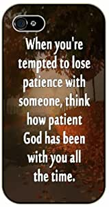 iPhone 6 When you are tempted to lose patience ...think how patience God has been with you - Bible verse black plastic case / Christian Verses