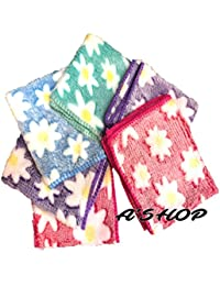 A'SHOP Super Silky Soft Thick Towel with big Flowers Multicoloured Handkerchief for Kids, women, girls (Pack of 6)(Print may Vary)